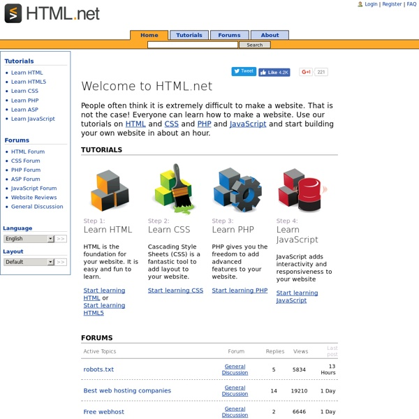 Free tutorials on HTML, CSS and PHP - Build your own website - HTML.net