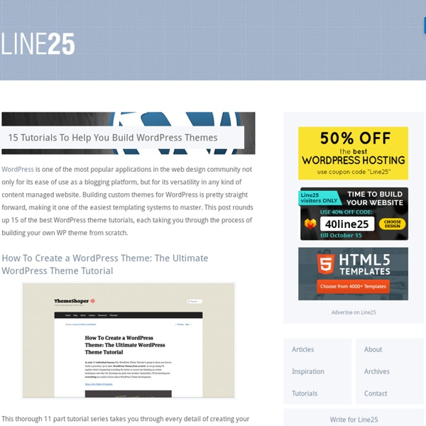 15 Tutorials To Help You Build WordPress Themes   Pearltrees