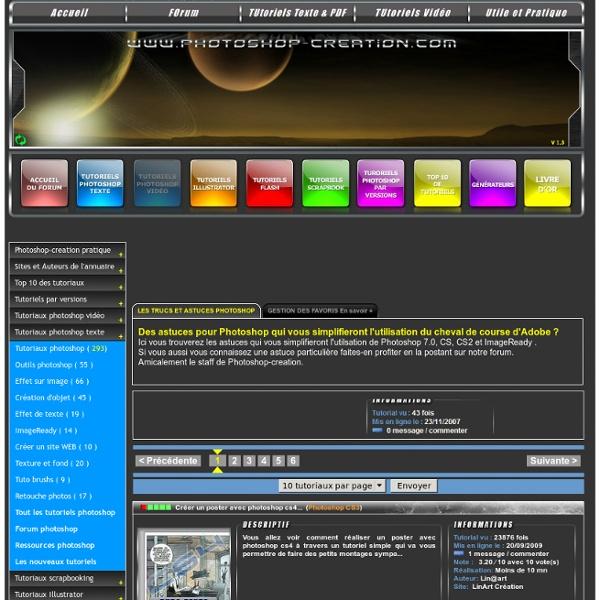 Tutoriaux et cours Photoshop cs2, cs, 7.0 et ImageReady sur Photoshop-Creation