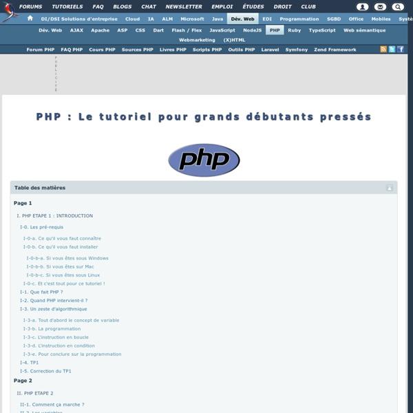 PHP : Le tutoriel pour grands débutants pressés