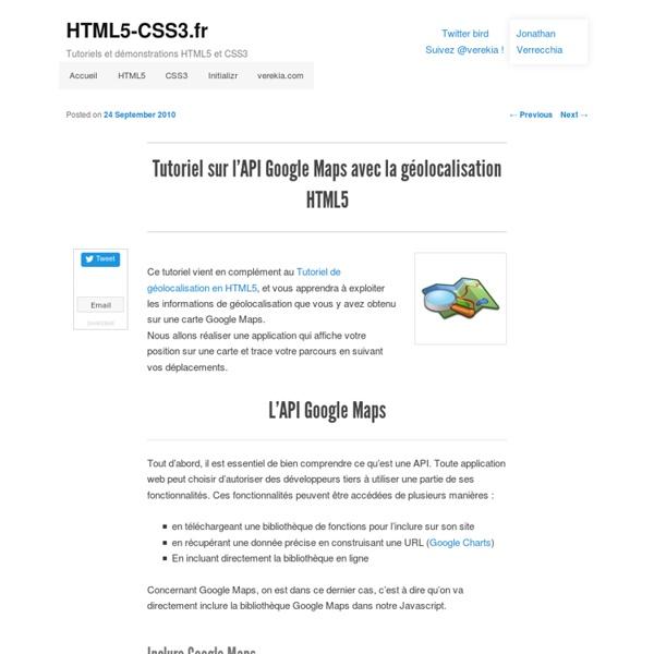 Tutoriel sur l'API Google Maps avec la géolocalisation HTML5