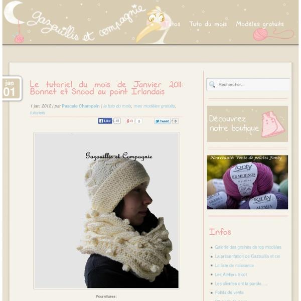 Le tutoriel du mois de Janvier 2011: Bonnet et Snood au point Irlandais