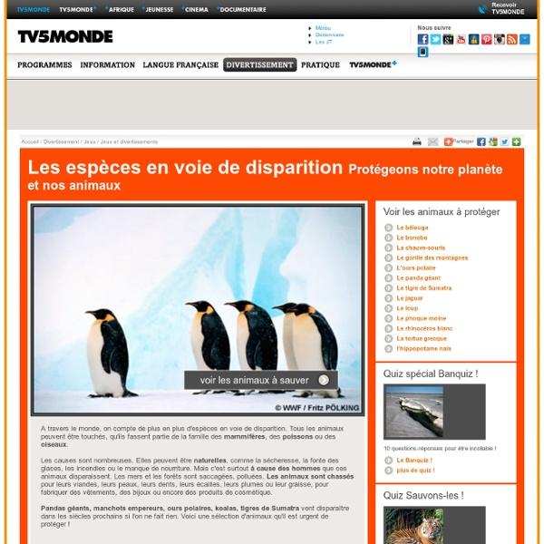 MONDE- Les espèces en voie de disparition