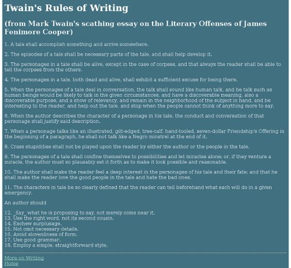 Twain's Rules of Writing