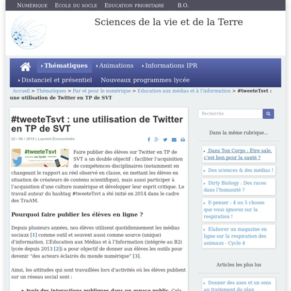 #tweeteTsvt : une utilisation de Twitter en TP de SVT