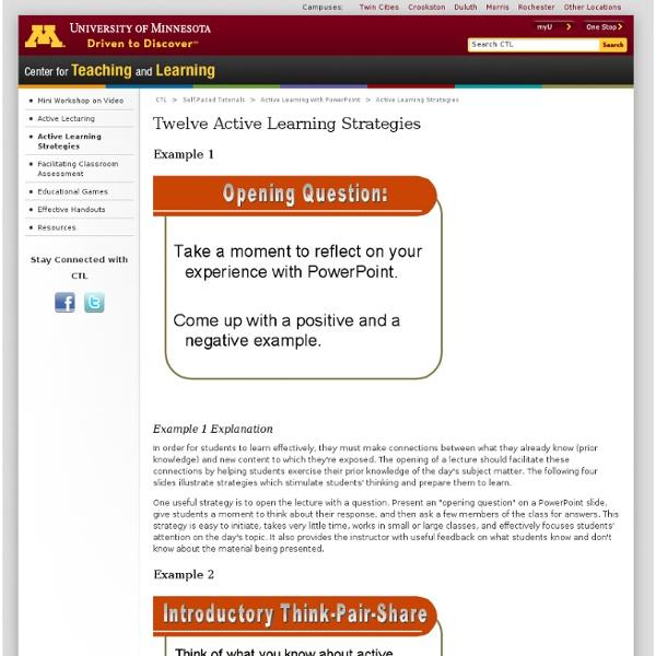 Twelve Active Learning Strategies