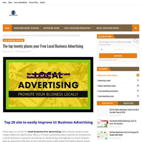 The top twenty places your Free Local Business Advertising