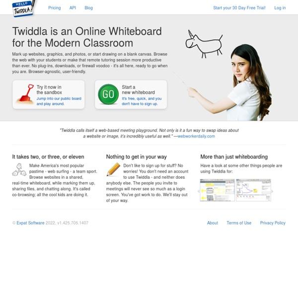 Tableau blanc de l'équipe avec Twiddla - Painless collaboration de l'équipe pour le Web