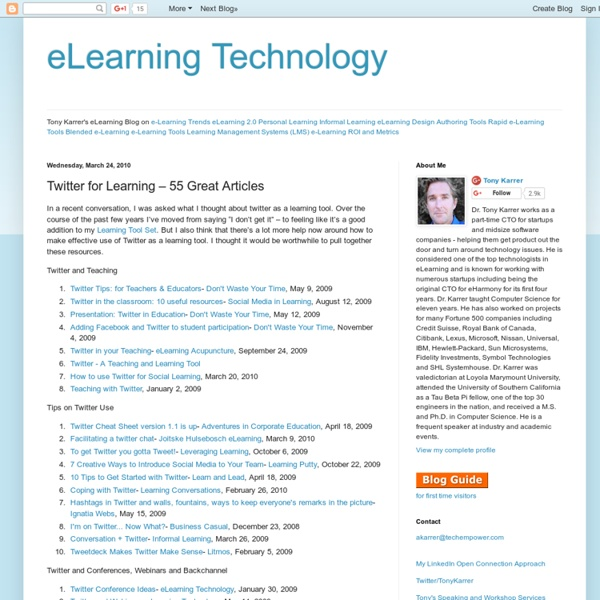 Twitter for Learning – 55 Great Articles