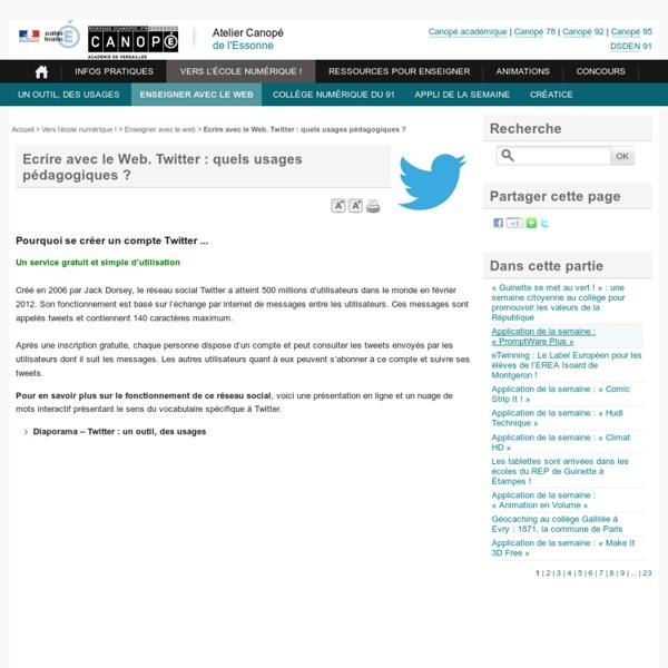 Ecrire avec le Web. Twitter : quels usages pédagogiques ?
