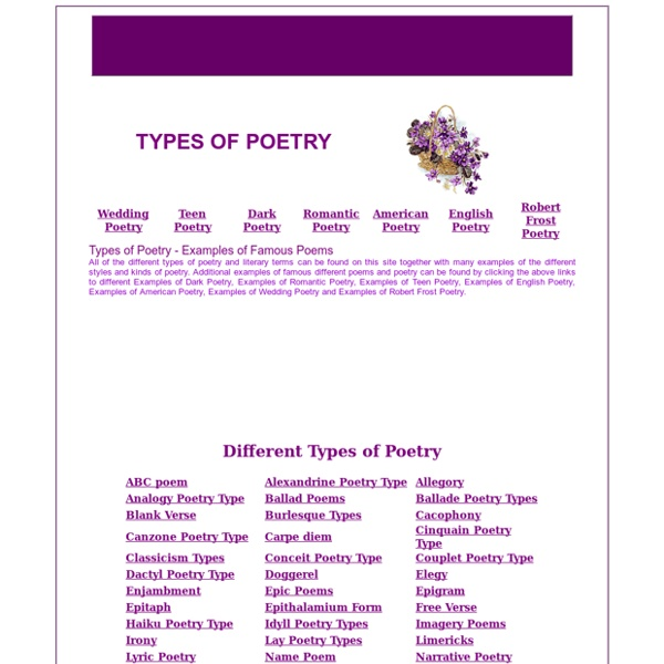 types of poems to write Students become familiar with the different types of poetry, including clerihew,   resource for a lesson on writing poetry as part of a language arts curriculum.