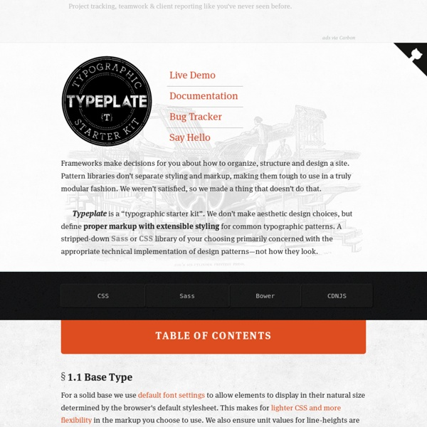 Typeplate » A typographic starter kit encouraging great type on the Web