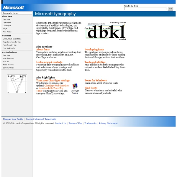 Typography - Free font information, TrueType, OpenType, ClearType