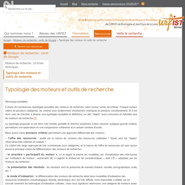 Typologie des moteurs et outils de recherche