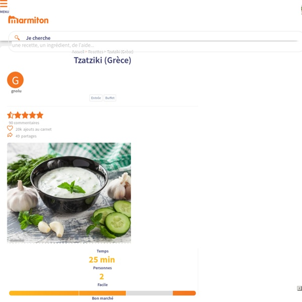 Tzatziki (Grèce) : Recette de Tzatziki (Grèce)