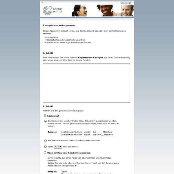 Übungsblätter selbst gemacht-Goethe-Institut