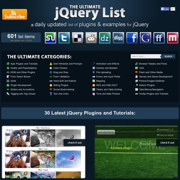 jQuery Ajax tutorials, jQuery UI examples and more! - The Ultimate jQuery List