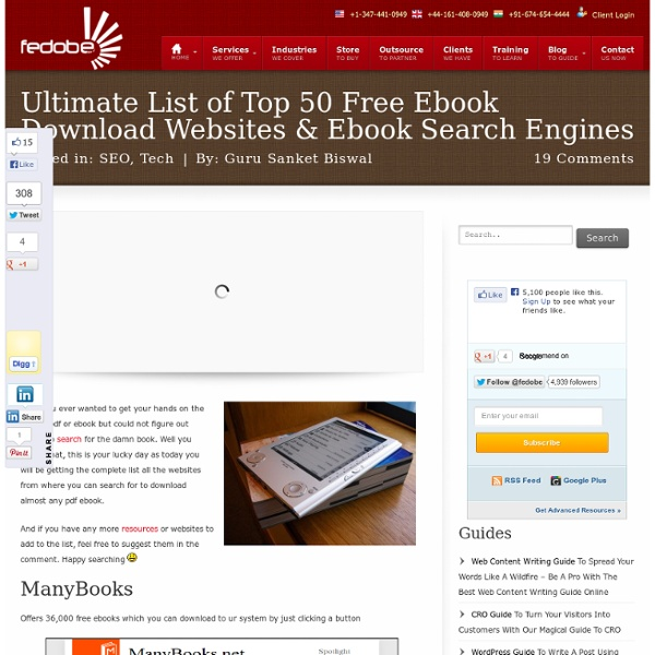 Ultimate List of Top 50 Free Ebook Download Websites & Ebook Search Engines - Fedobe