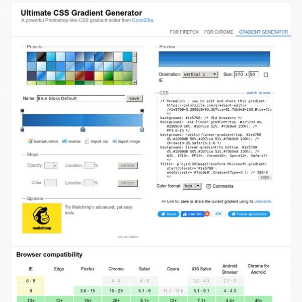 Ultimate CSS Gradient Generator - ColorZilla.com