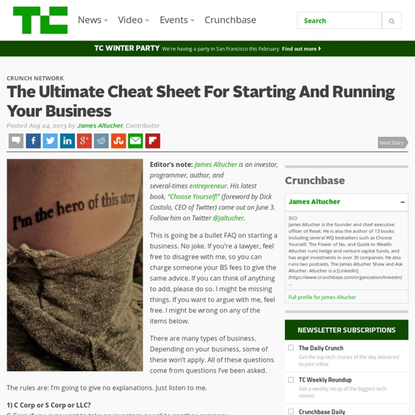 The Ultimate Cheat Sheet For Starting And Running Your Business