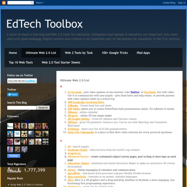 EdTech Toolbox: Ultimate Web 2.0 List
