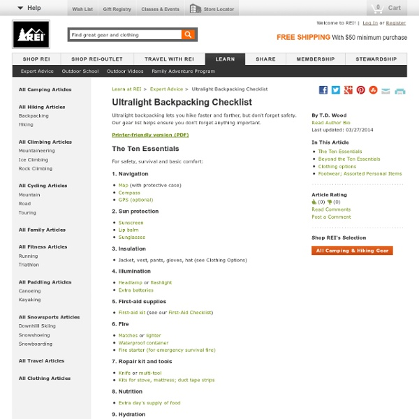 Ultralight Backpacking Checklist: Expert Advice from REI - StumbleUpon