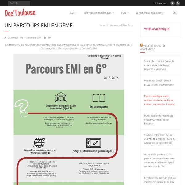Un parcours EMI en 6ème – Doc'Toulouse