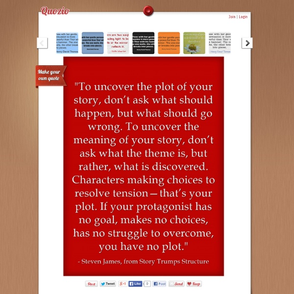 """To uncover the plot of your story, don't ask what should..."