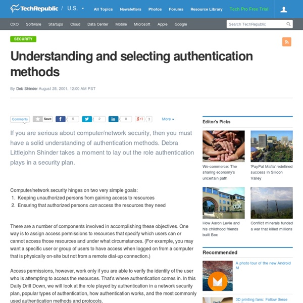 Understanding and selecting authentication methods