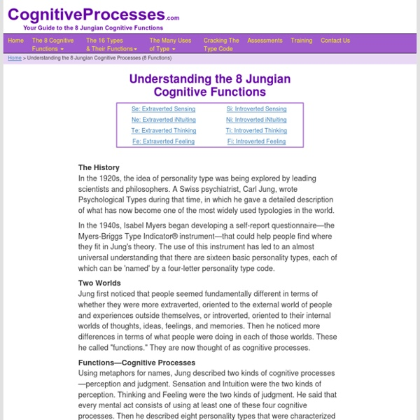 Understanding the Eight Jungian Cognitive Processes / Eight Functions Attitudes