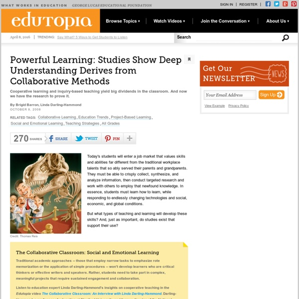 Powerful Learning: Studies Show Deep Understanding Derives from Collaborative Methods
