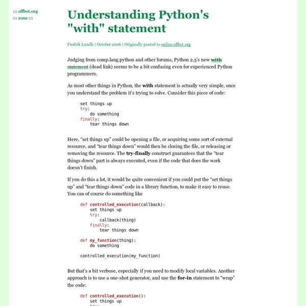 """Understanding Python's """"with""""statement"""