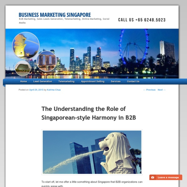 The Understanding the Role of Singaporean-style Harmony in B2B