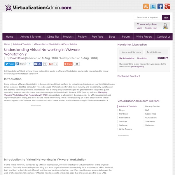 Understanding Virtual Networking in VMware Workstation 9