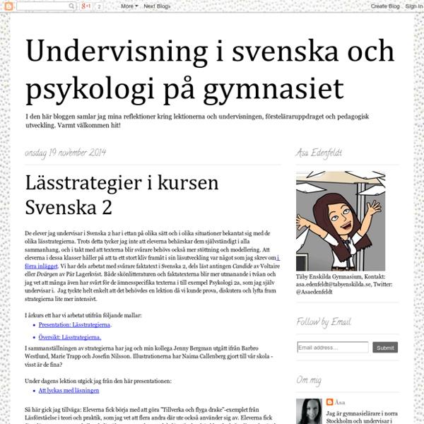 Undervisning i svenska och psykologi på gymnasiet: Lässtrategier i kursen Svenska 2