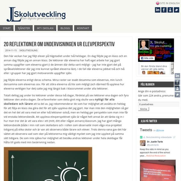 20 reflektioner om undervisningen ur elevperspektiv