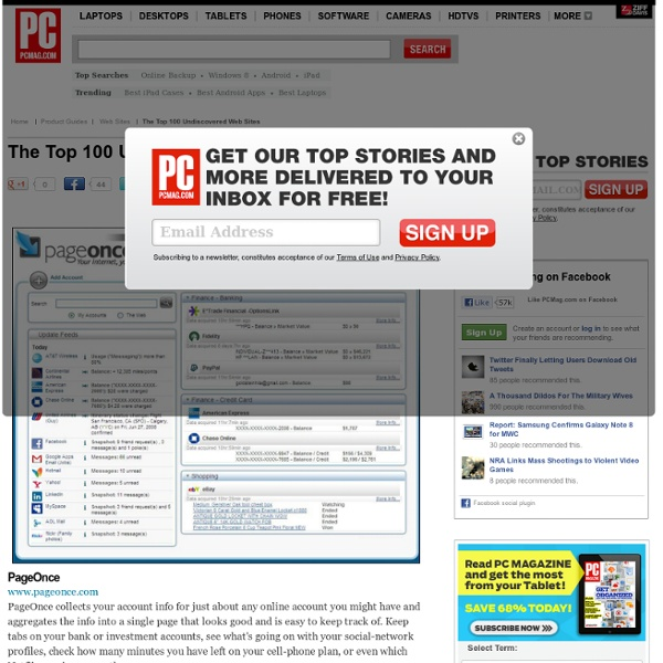 The Top 100 Undiscovered Web Sites - PageOnce