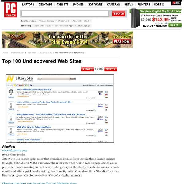 Top 100 Undiscovered Web Sites - AfterVote