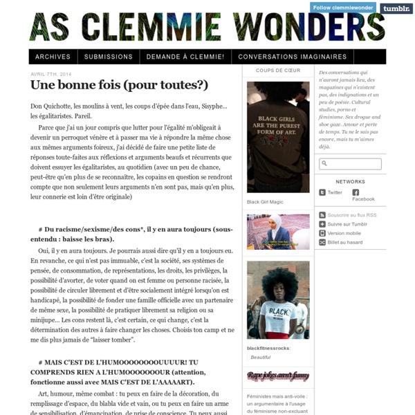 As Clemmie Wonders · Une bonne fois (pour toutes?)