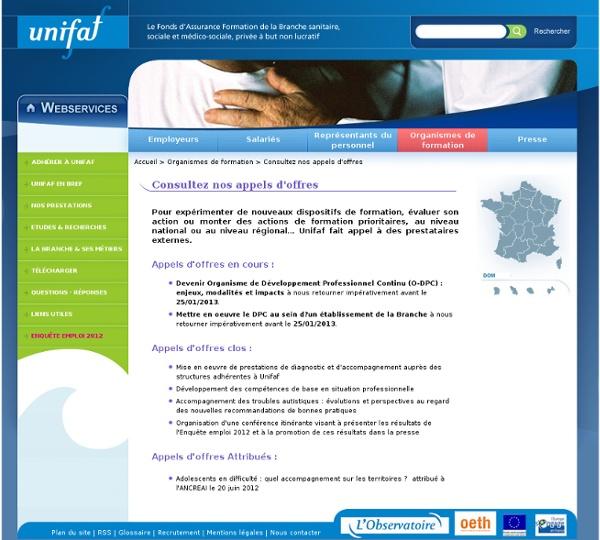 Les appels d'offres de l'OPCA Unifaf