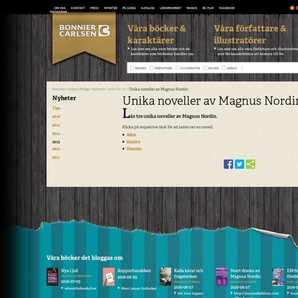 Unika noveller av Magnus Nordin - Bonnier Carlsen Förlag