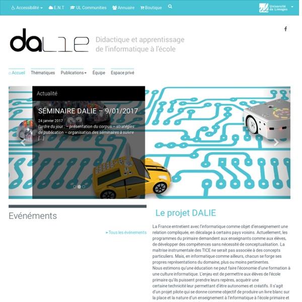 Projet Dalie - Didactique et apprentissage de l'informatique à l'école
