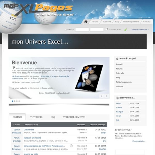 Mon Univers Excel... : myDearFriend! Excel Pages
