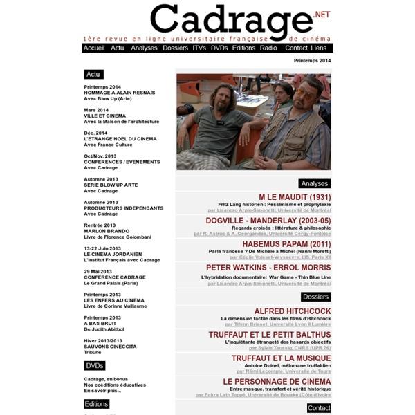 1ère revue en ligne universitaire française de cinéma