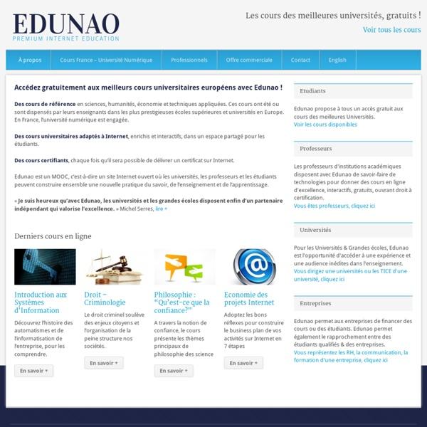 Cours universitaires gratuits sur le 1er MOOC en Europe » Accueil