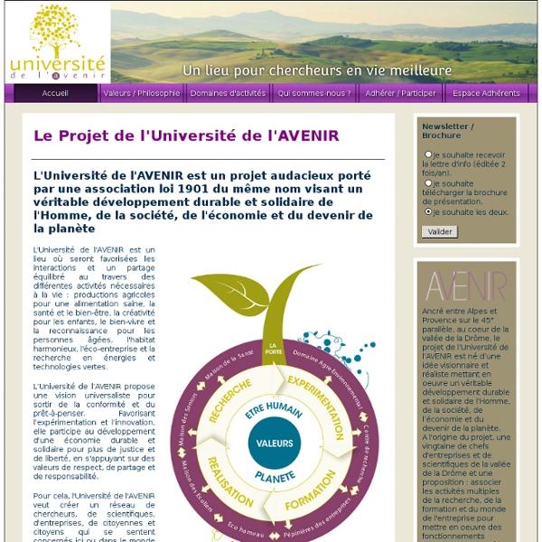Université de l'AVENIR - Un lieu pour chercheurs en vie meilleure