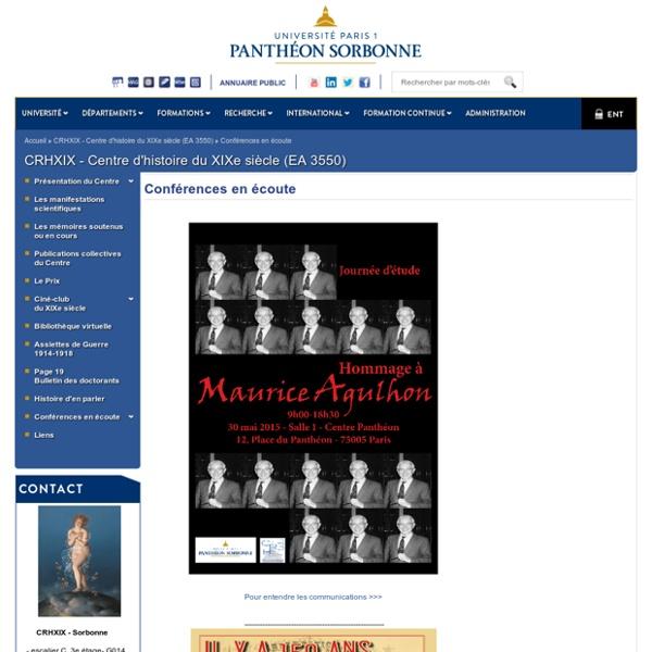 Université Paris 1 Panthéon-Sorbonne: Conférences en écoute