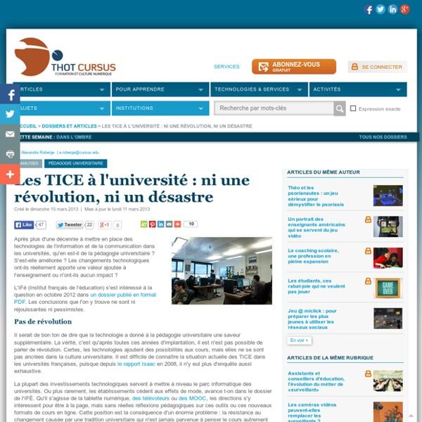 Les TICE à l'université: ni une révolution, ni un désastre