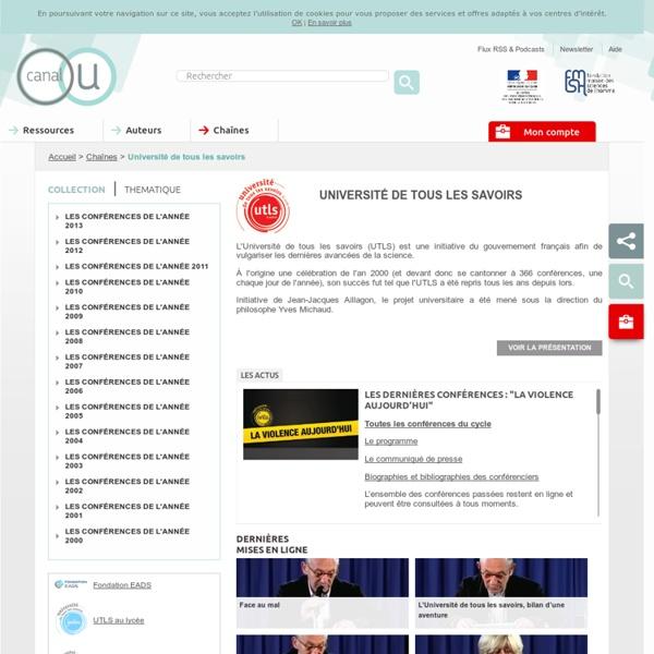 Université de tous les savoirs - Contributeurs - Canal-U