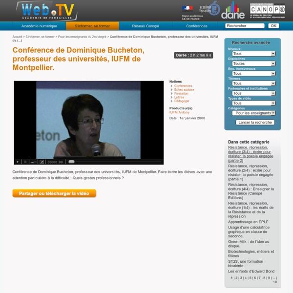 Conférence de Dominique Bucheton, professeur des universités, IUFM de Montpellier.